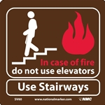 In Case Of Fire Do Not Use Elevators Sign (SV60)