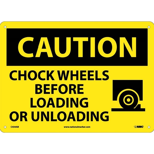 Caution Chock Wheels Before Loading Or Unloading Sign (C434AB)