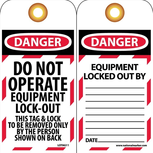 Danger Do Not Operate Equipment Lock-Out Tag (LOTAG11-25)