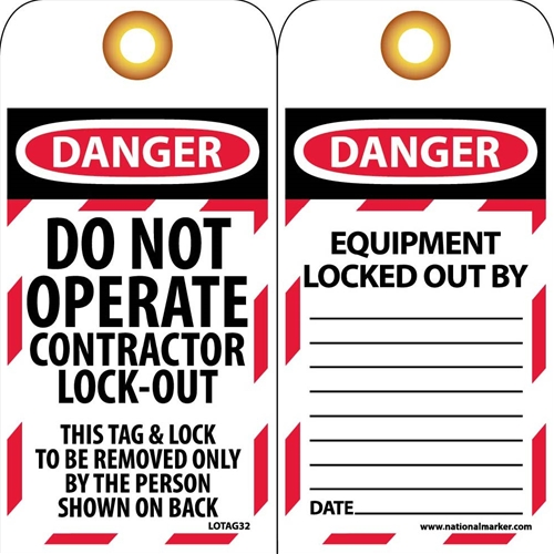 Danger Do Not Operate Contractor Lock-Out Tag (LOTAG32)