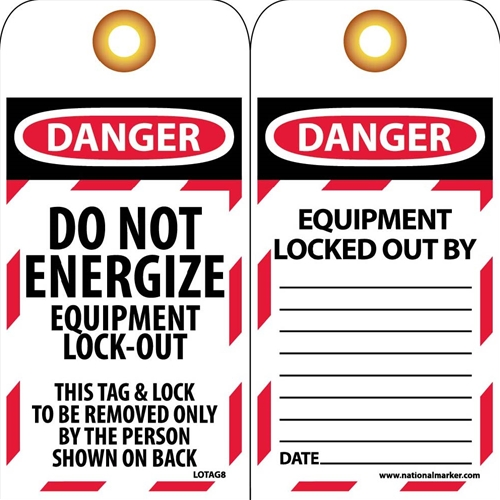 Danger Do Not Energize Equipment Lock-Out Tag (LOTAG8)