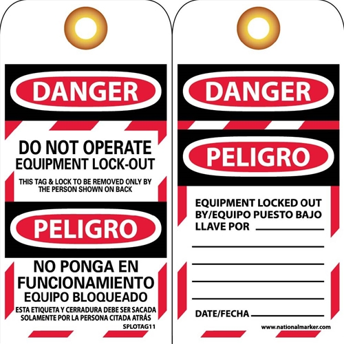 Danger Do Not Operate Equipment Lock-Out Bilingual Tag (SPLOTAG11-25)
