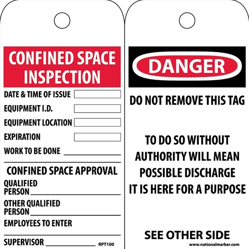 Danger Confined Space Tag (RPT100)
