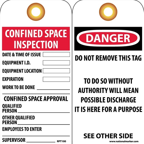 Danger Confined Space Tag (RPT100G)