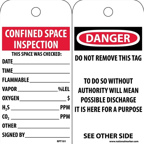 Danger Confined Space Inspection Tag (RPT101)