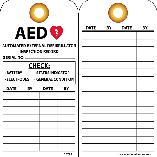Aed Automated External Defibrillator Inspection Record Tag (RPT43G)
