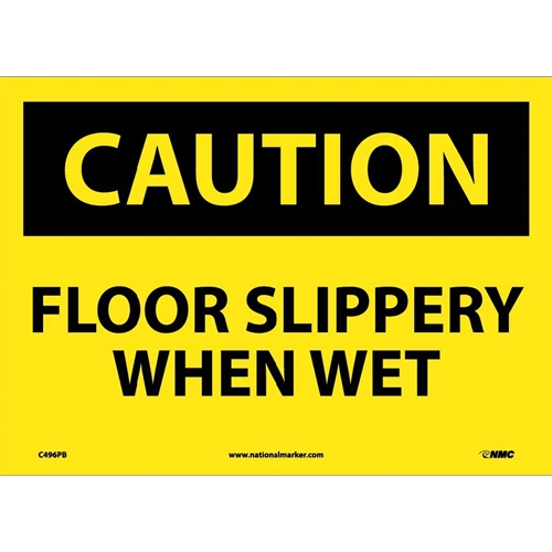 Caution Floor Slippery When Wet Sign (C496PB)