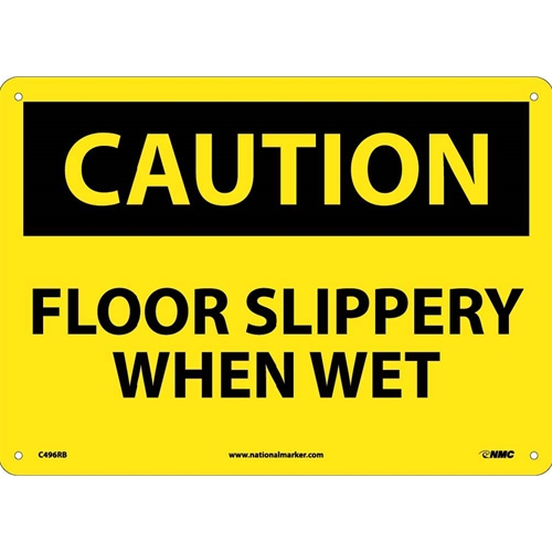 Caution Floor Slippery When Wet Sign (C496RB)