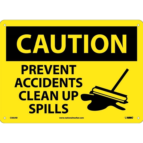 Caution Prevent Accidents Clear Up Spills Sign (C585AB)