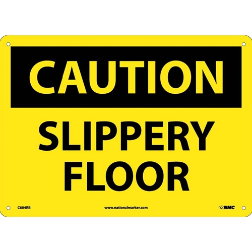 Caution Slippery Floor When Wet Sign (C604RB)