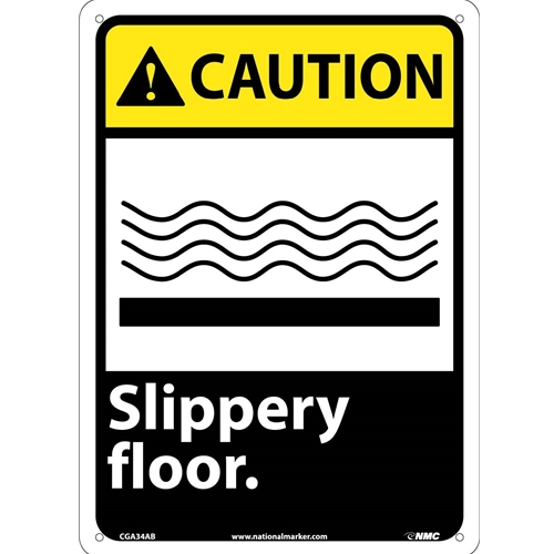 Caution Slippery Floor Sign (CGA34AB)