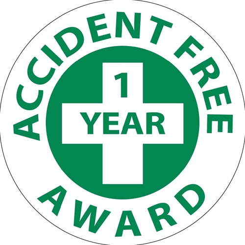 Accident Free 1 Year Award Hard Hat Emblem (HH31)