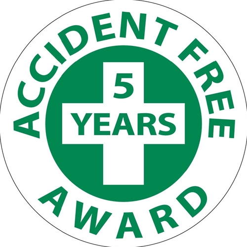 Accident Free 5 Years Award Hard Hat Emblem (HH32)