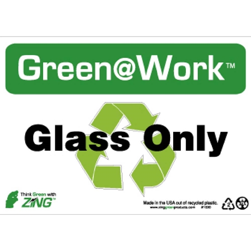 Green Work Glass Only Sign (GW1030)