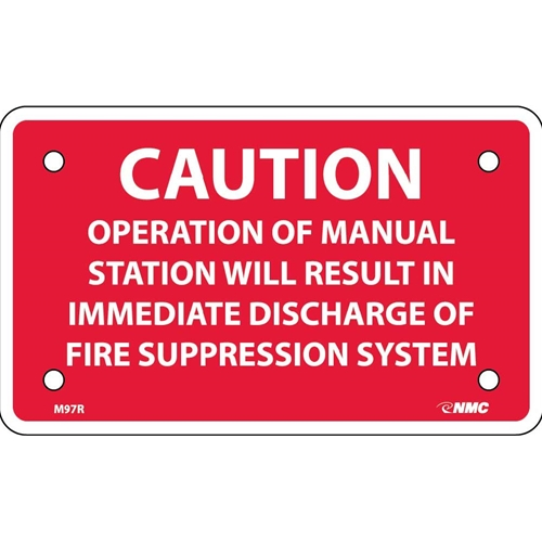 Caution Fire Suppression System Sign (M97R)