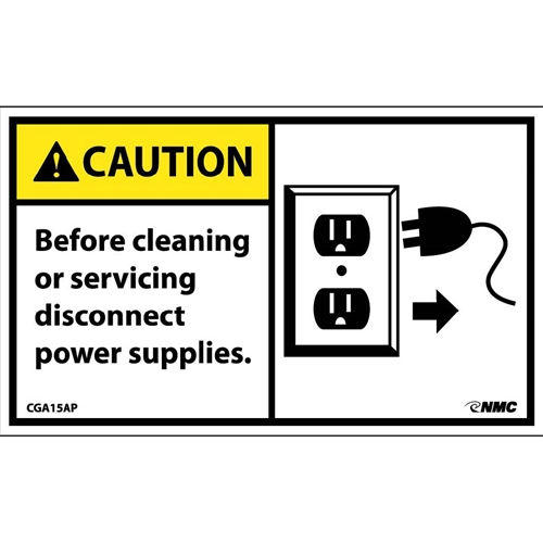 Caution Disconnect Power Supplies Label (CGA15AP)