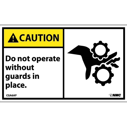 Caution Do Not Operate Without Guards In Place Label (CGA6AP)
