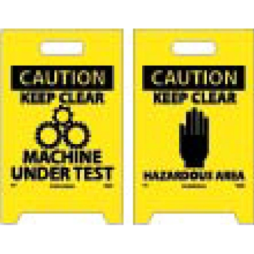 Caution Keep Clear Machine Under Test Double-Sided Floor Sign (FS17)