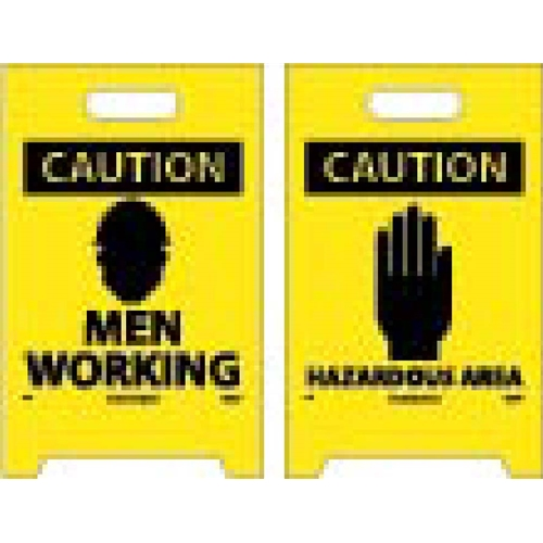 Caution Men Working Double-Sided Floor Sign (FS3)