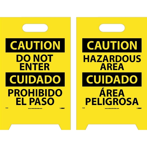 Caution Do Not Enter - Bilingual Double-Sided Floor Sign (FS31)