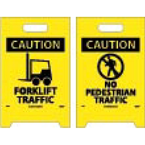 Caution Forklift Traffic Double-Sided Floor Sign (FS34)