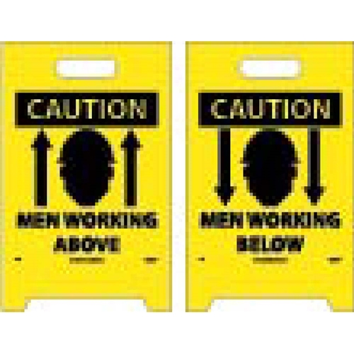 Caution Men Working Above/Below Double-Sided Floor Sign (FS6)