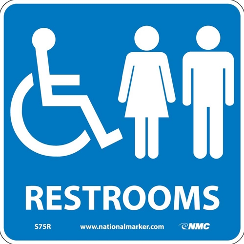 Ada Location Marker Restrooms Sign (S75R)