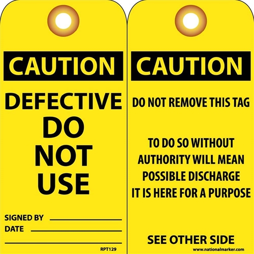 Caution Defective Do Not Use Tag (RPT129G)