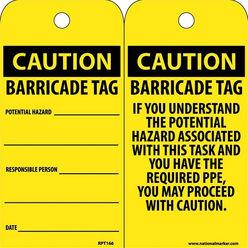 Caution Barricade Tag Potential Hazard Tag (RPT166)