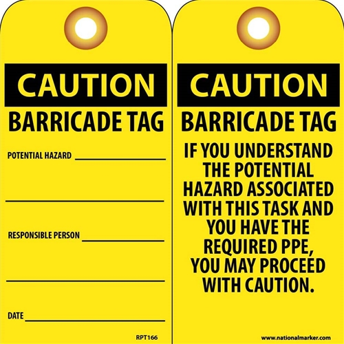 Caution Barricade Tag Potential Hazard Tag (RPT166G)