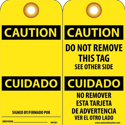 Caution Bilingual Tag (RPT97G)